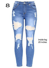 New Womens Blue High Waist Knee Cut Rip Distressed Stretch Skinny Fit Denim Jean