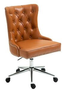 PU Leather Fabric Upholstered Tufted Home Office Chair with Studs-PU Brown