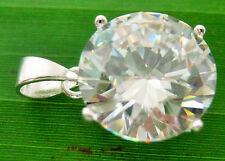 """BUY 2 GET 1 FREE 925 sterling silver 12mm """"Solitaire Big"""" Round CZ pendant -GIRL"""