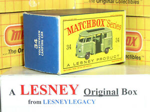 Matchbox Lesney 34b Volkswagen Caravette Camping Car Type D EMPTY ORIGINAL BOX a