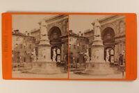 Italia Milan Monumento Leonardo Da Vinci c1875 Foto Stereo Albumina Vintage