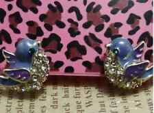 E84 Betsey Johnson Little Happy Flying Blue Bird with Crystal Earrings US