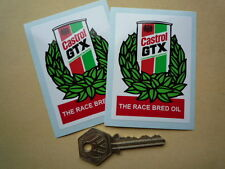 CASTROL GTX Can & Garland Car Stickers Pair Race Bred Oil Motor Riley Classic