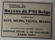 Publicité ancienne Utilisez les moyens du P'tit Belge, rats,souris  1932, advert