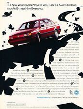 1990 VW Volkswagen Passat - red sedan - Classic Vintage Advertisement Ad H56