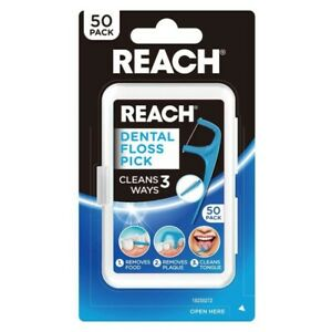 REACH Dental Floss Pick 50 Pack Removes Plaque Food & Cleans Tongue