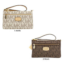 NEW Michael Kors Signature Jet Set Large Wristlet MK PVC - Pick Vanilla or Brown