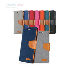 Mercury Canvas Leather Wallet Cover Soft Gel Case for Samsung Galaxy S6 S7 edge
