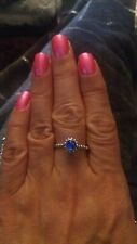 Birthstone Ring BLUE stone stamped 925 ALE  size 9