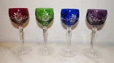 """SET OF FOUR (4) CZECH CUT TO CLEAR CRYSTAL LIQUOR GLASSES 5 3/4"""" RED GREEN BLUE"""