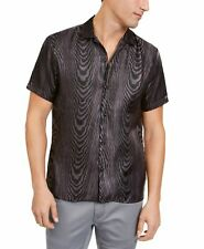 INC Mens Shirt Black Size XL Sheer Oil Animal-Printed Button-Front $80 050