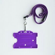 Purple ID Card Holder & Purple Neck Strap Lanyard With Metal Clip