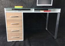 Schreibtisch Arbeitstisch Workstation Office Glastisch Weiß Sonoma Eiche T208