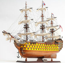 "HMS Victory Admiral Nelson Tall Ship 37"" Wood Model Painted Sailboat Assembled"