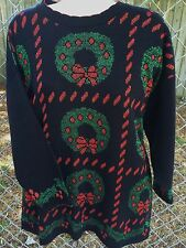 Ugly Christmas Sweater Tunic 20W NWT Black Wreaths Green Red Pullover Holiday