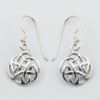 Silver earrings hook drop 925 sterling silver celtic knot dangle 28mm height