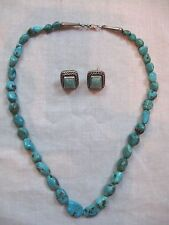 Turquoise Sterling Silver Bead Necklace and Earring Set .925 Mexico