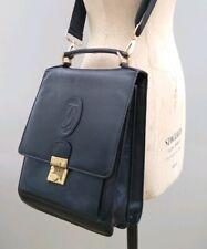 Vintage Cartier Man Bag Case Briefcase leather satchel Shoulder black Women