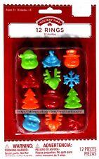 HOLIDAY TIME* 12pc RINGS Santa+Bells+Snowman+Reindeer+Snowflake+Tree PLASTIC New