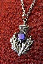 Scotch Thistle Pendant Outlander Celtic Scotland Iona Crystal Pewter Necklace