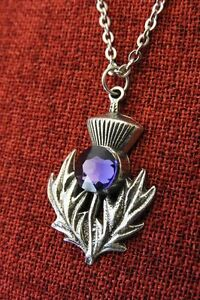 Scottish Thistle Pendant Outlander Celtic Scotland Iona Crystal Pewter Necklace