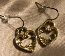 LOFT Gold Tone Heart Charm Drop Dangle Earrings