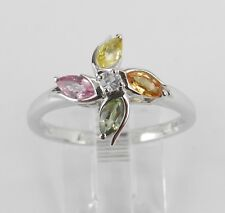 White Gold Multi Color Sapphire Flower Cluster Cocktail Ring Size 8 Pink Green