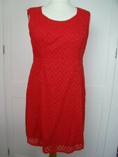 Pepperberry size 16 really curvy red broiderie anglaise sleeveless sheath dress