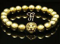 Hämatit Hematit - goldfarbener Löwenkopf - Armband Bracelet Perlenarmband 8mm
