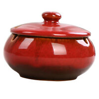 Ceramic Ashtray with Lids Windproof Cigarette Ashtray Home Indoor Use Red