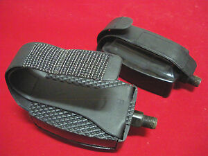 Exercise Bike Pedals Adjustable Straps 1/2 Stationary Gym Bicycle NOS