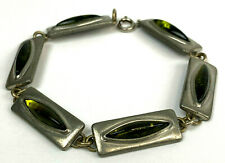 Modernist PEWTER JORGEN JENSEN Denmark Green Vintage Bracelet