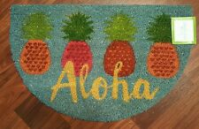 Aloha Pineapple Coir Welcome Mat Slice Doormat Front Entry Door Rug Tropical NEW