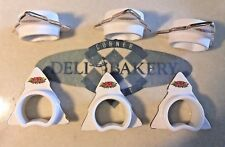 6 Napkin Rings Christmas Tree White Porcelain  Gold edge Vintage Japan