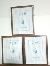 Three 7 x 9 Walnut wood hanging frames with glass/backing/hanger