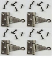 Dollhouse Miniatures 1:12 Scale T-Hinges, Pewter, 4Pk with 24 Nails #Cla05563