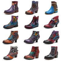 SOCOFY Women Genuine Leather Floral Retro Shoes Splicing Hook Loop Ankle Boots