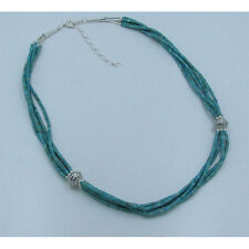 5 Strand 925 Sterling Silver Natural Green Blue King Turquoise Heshei Necklace