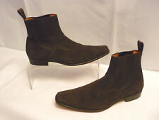 SANTONI Mens Ankle Boots Sz 9 Brown Suede Leather Slip On Stretch Panels Italy