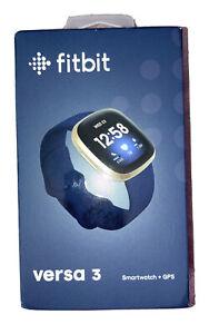 Fitbit Versa 3 Activity Tracker - Midnight/Soft Gold Aluminum- Brand New Sealed!