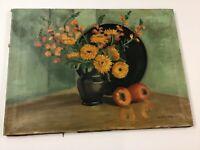 """Listed Vermont Artist Harriette Miller Oil/Canvas """"Black & Orange"""" 1935"""