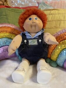 Cabbage Patch 1983 OK HM2, Fuzzy, Red, Blue, Dimples, Denim Overalls
