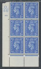 Great Britain Sc 239 Mlh. 1937 2½p Kgvi, O/44 Cylinder Block of 6, Vf