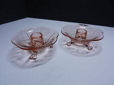 "Fostoria 2 Versailles Etch Footed Candleholder #2394 Rose 4 1/2"" D ca1930"