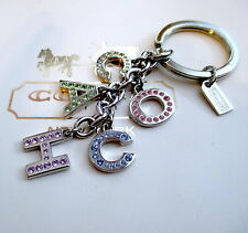 Coach Pave Rhinestone Letters Key Chain Fob Keychain Charm NEW