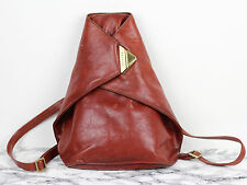 Vintage 80s French TEXIER Tan Brown Leather Backpack/Rucksack Shoulder Bag