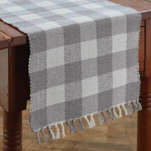 Wicklow Dove Gray White Check Woven Cotton Country Farmhouse Table Runner