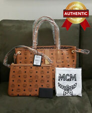 NEW Authentic MCM Medium Cognac Reversible Liz Shopper with pouch / tote bag