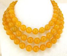 "Natural 10MM yellow jasper gemstone beads necklace 50"""