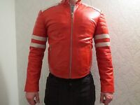 New Mens Real Leather Biker Style Jacket Red with White Stripes - Size SMALL